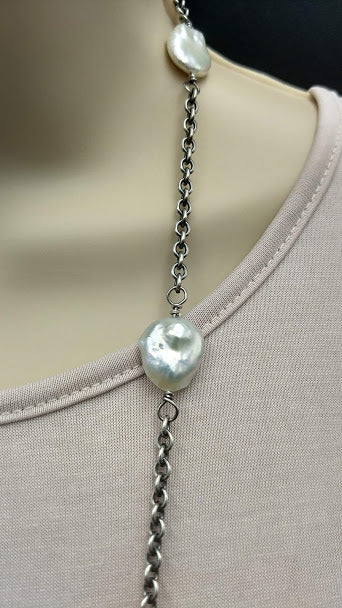 Linkable White Coin Pearls and Sterling Silver Necklace