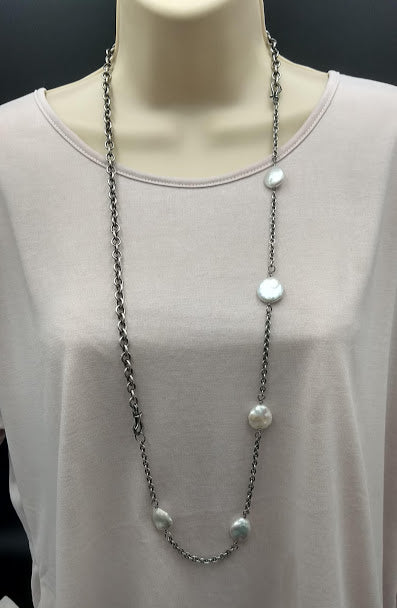 Two Necklaces in one, Sterling Silver and White Coin Pearls