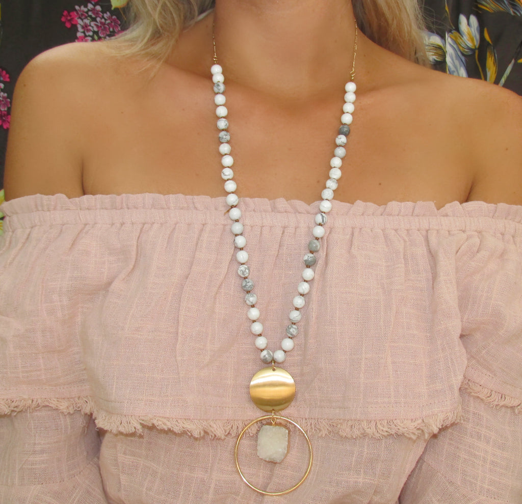 White Marble Bead and Stone Pendant Necklace