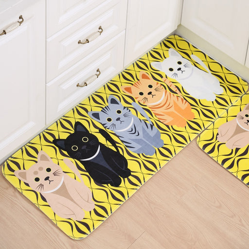 Hallway Welcome Floor Mats Cute Cat Print
