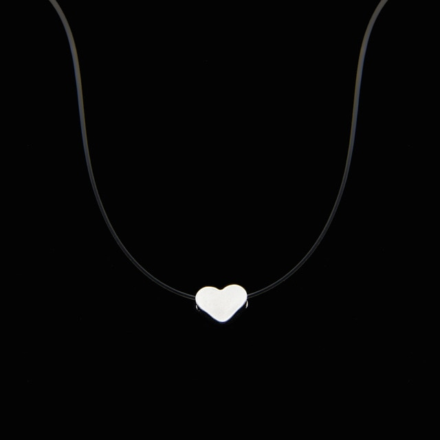 Womens Necklace Silver Invisible Chain Necklace