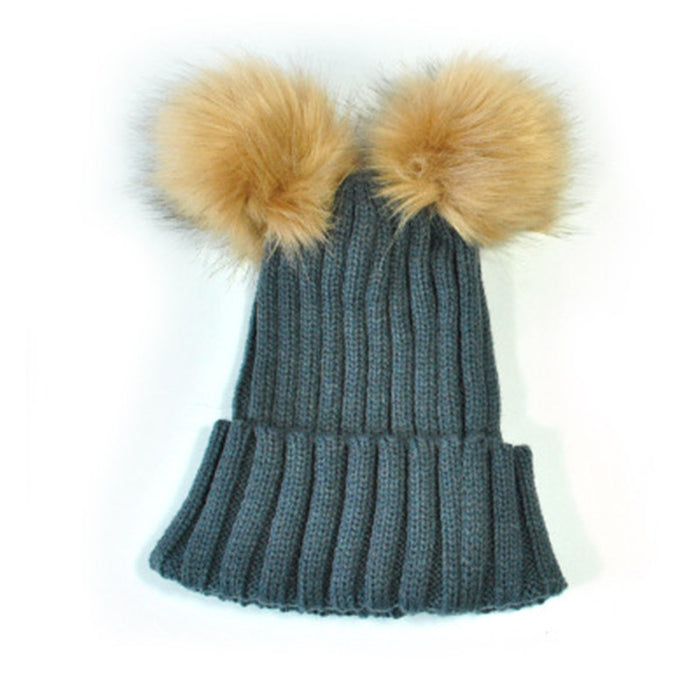 Faux Fur Pom Pom Beanies For Kids/Adults