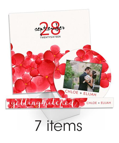 Red Watercolor Blooms Insert and Sticker Bundle