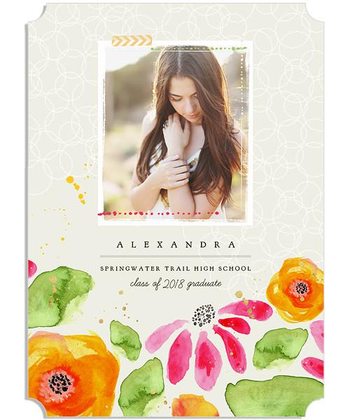 Tea Time Senior Announcement 5x7 Groove Luxe and Flat Card