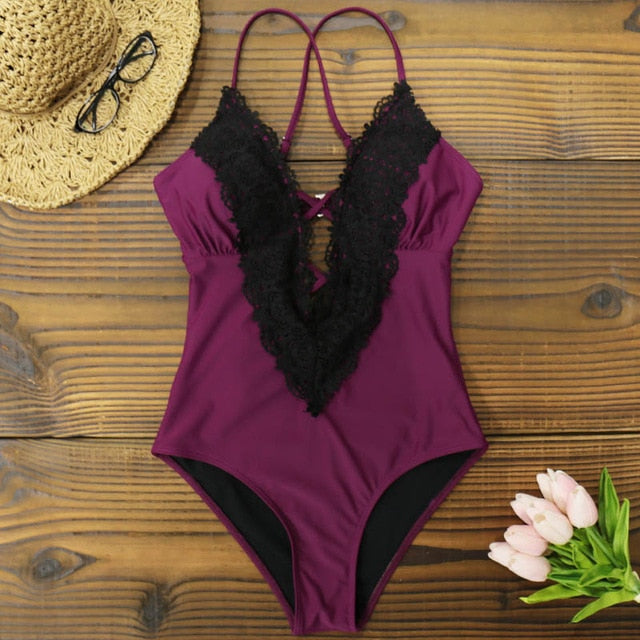 Plunging Lace One Piece