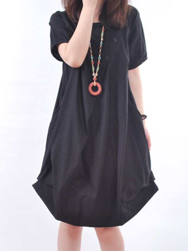 Pockets Cocoon Short Sleeve Casual Dress