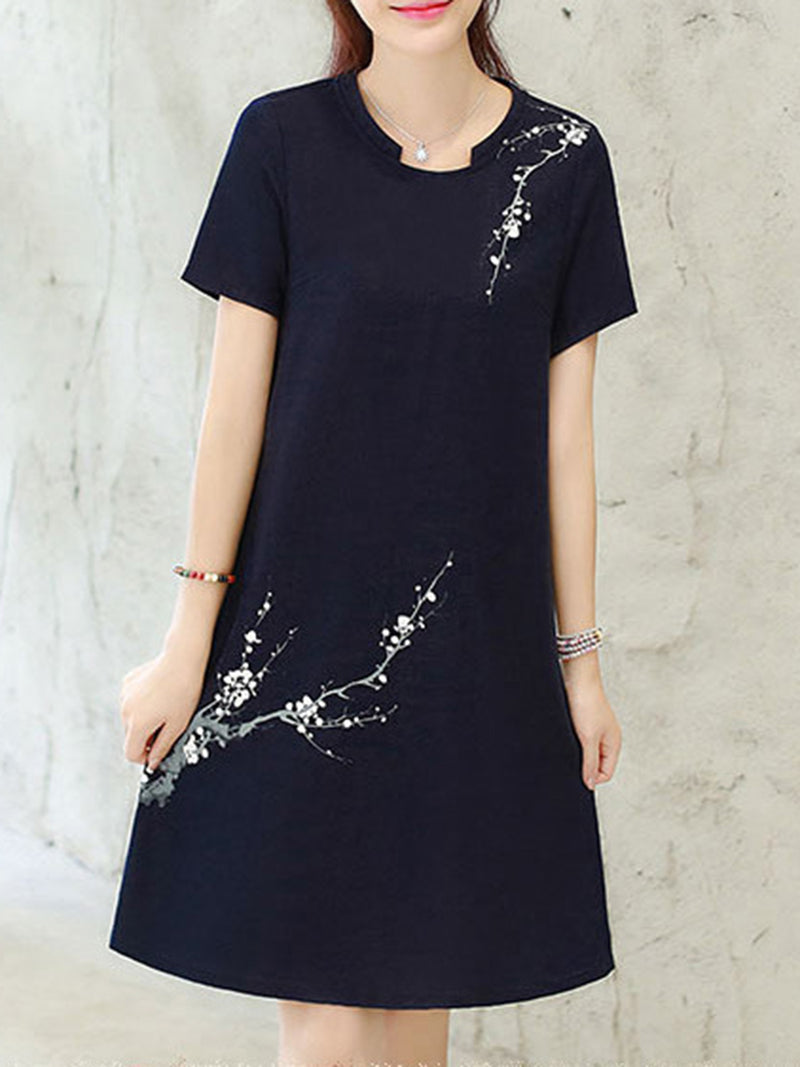 Floral-print A-line Stand Collar Short Sleeve Plus Size Dress