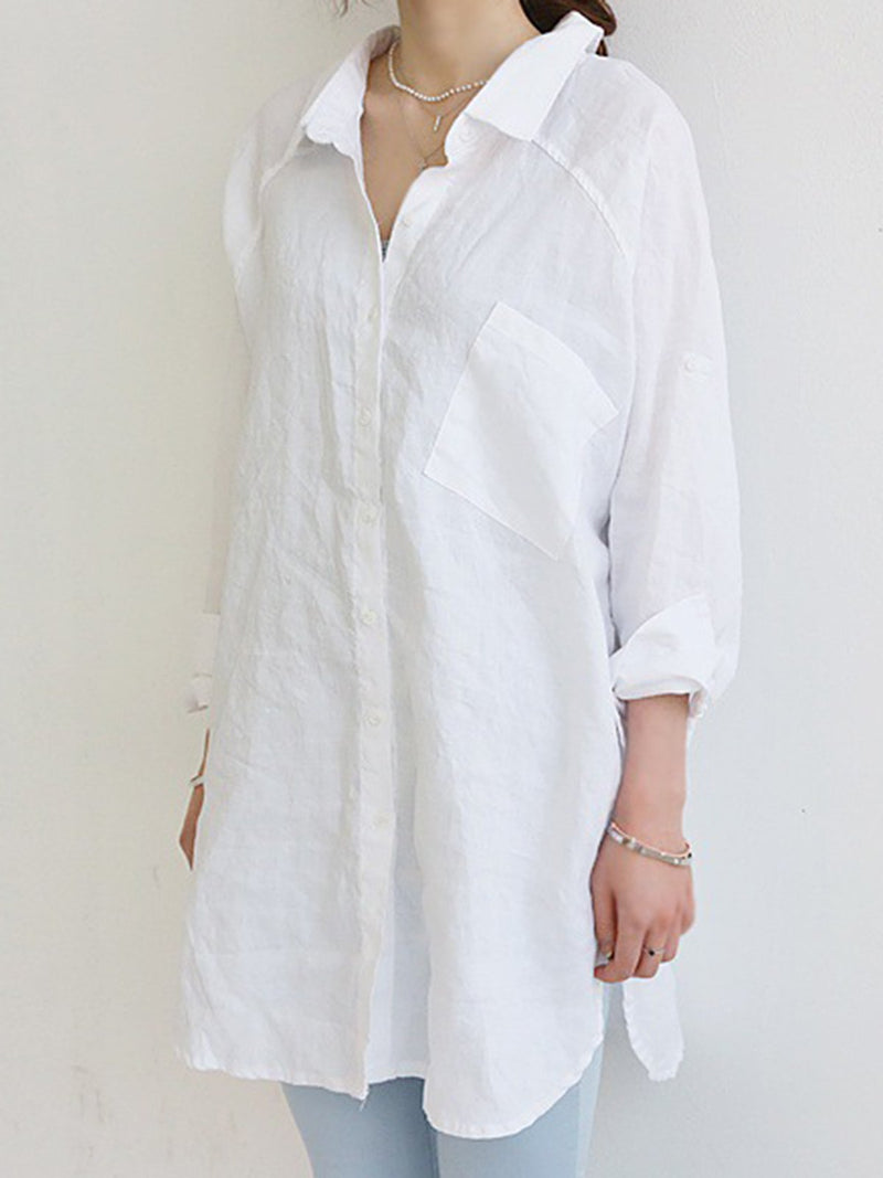 Solid Shirt Collar Linen Casual Blouse