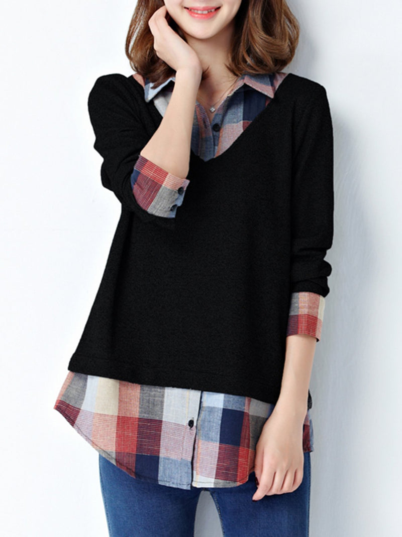 Plus Size One Piece Shirt Collar Long Sleeve Checkered H-line Blouse