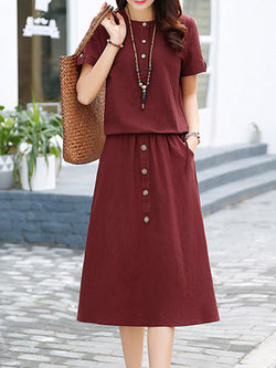 Linen Casual Crew Neck Pockets Short Sleeve Dress