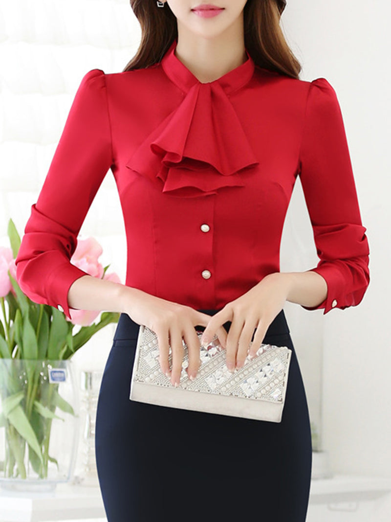Solid Long Sleeve Solid Bow Plus Size Blouse