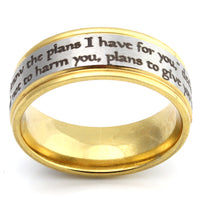 Jeremiah 29:11 - Silver and Gold Scripture Ring