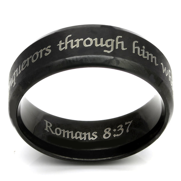 More than Conquerors Black Beveled Ring