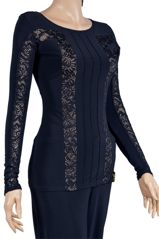 Long Sleeve Lace Design Blouse-Front Top View | SM Dance Fashion
