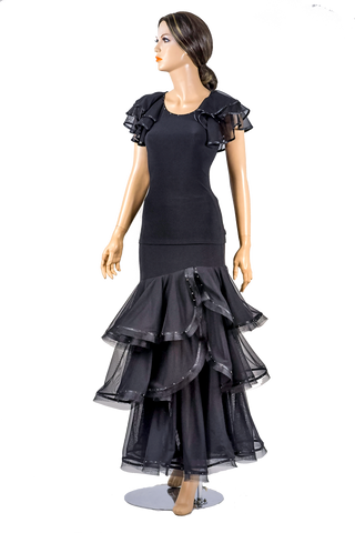 Exclusive Rhinestone Layered Ballroom & Smooth Skirt-Front View | SM Dance Fashion