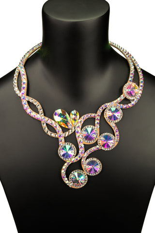 Exquisite Crystallized Round Accent Princess Necklace-Front View | SM Dance Fashion