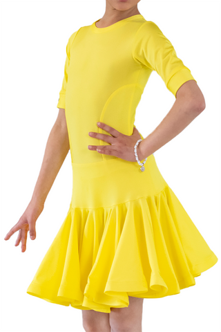 Kids yellow latin dance dress | SM Dance Fashion