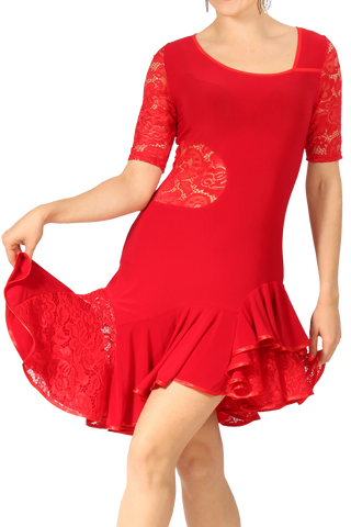 Asymmetrical Lace Red Latin & Rhythm Dress | SM Dance Fashion