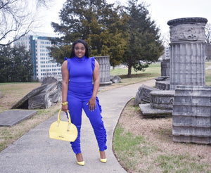 All Blues Saturday Blue Side Ruffle Point Jumpsuit