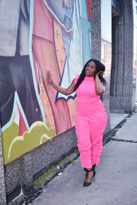Pink Side Ruffle Jumpsuit