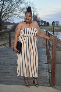 Beige and Black Stripe Jumpsuit
