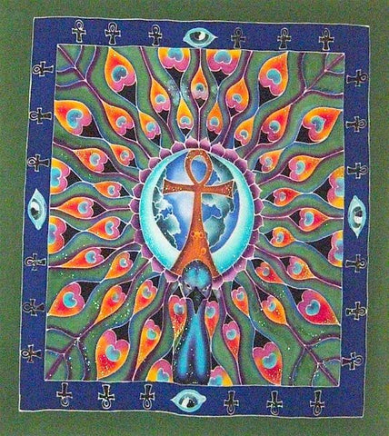 Peacock Ankh of Life Colorful Wall Hanging Banner Tapestry