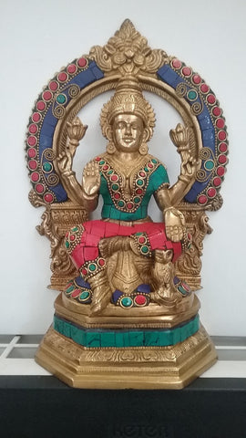 Lakshmi Laxmi Seated on Throne Statue with Inlay Stones