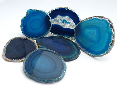 Agate Slice Small - Dyed Blue