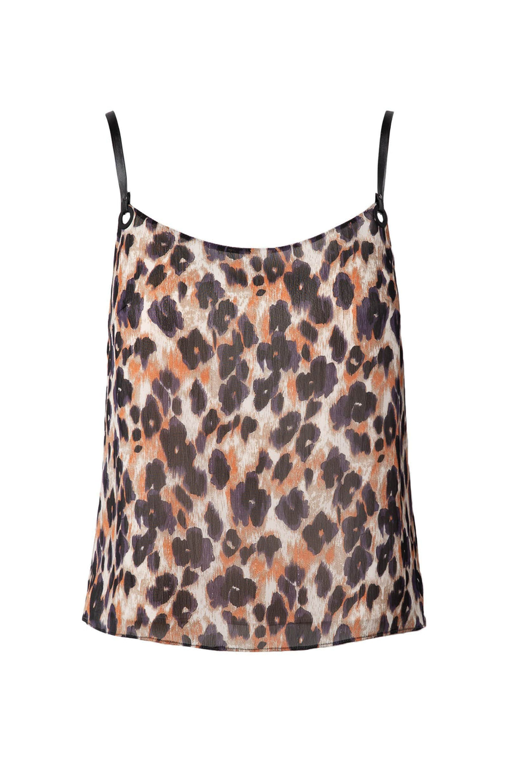 photo of leopard print spaghetti strap top in brown color