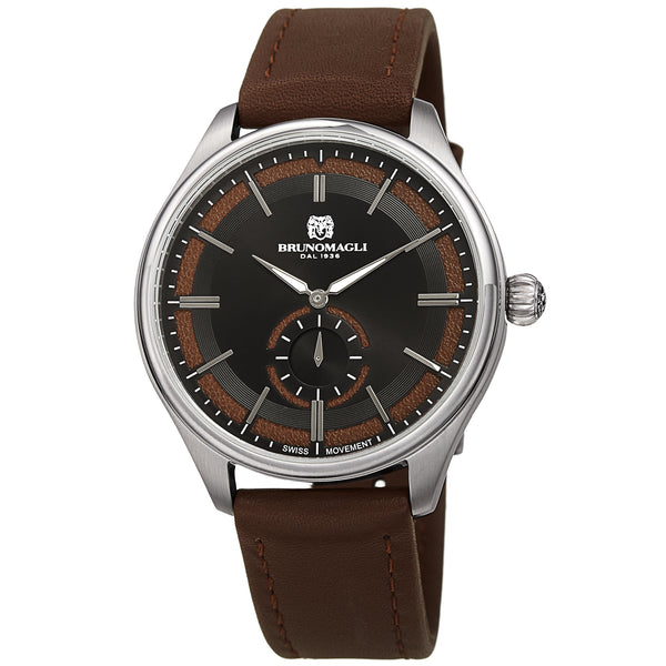 Men's Luca Pelle Watch - Silver-Tone/Brown