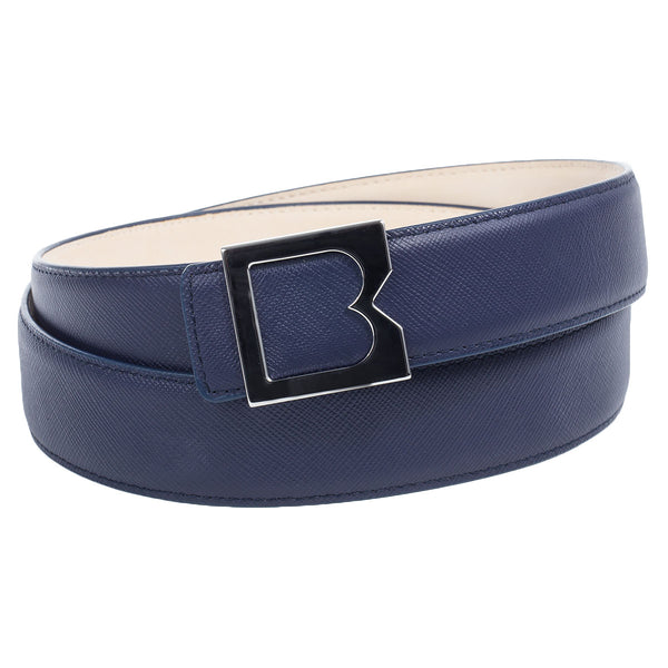 Leather Men's Belt with B Buckle