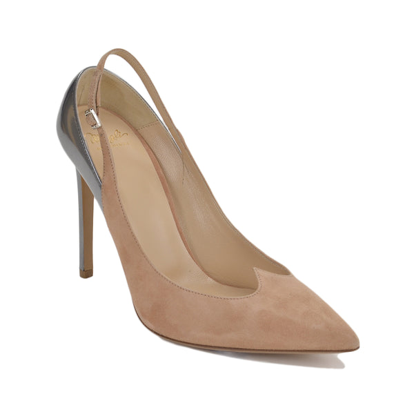 Anna Suede/Leather Slingback, 4-inch - FINAL SALE - Nude Suede/Silver Metallic Leather
