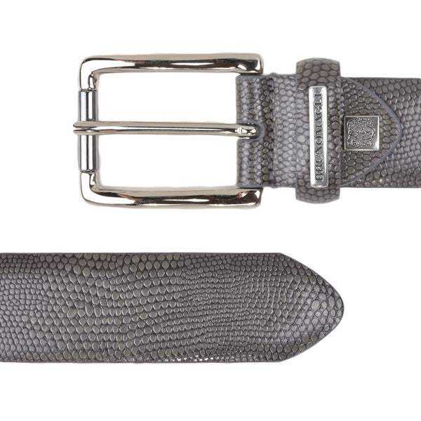 Textured Leather Men's Belt - Grey Snake-Print Leather - FINAL SALE