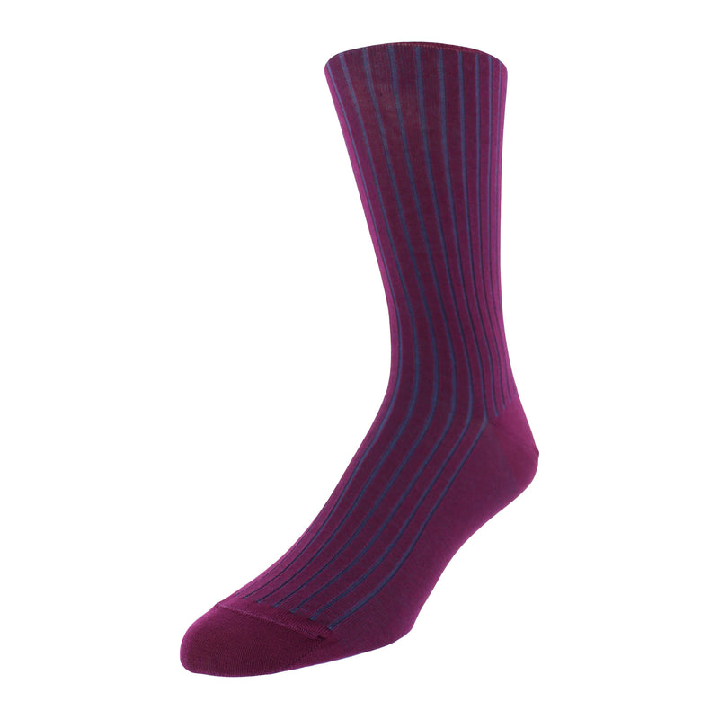 Vertical Stripe Patterned Graphic Men's Dress Socks - Purple