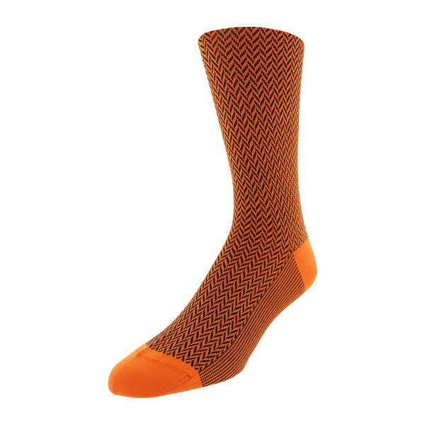 Herringbone Patterned Men's Dress Socks - Orange - FINAL SALE
