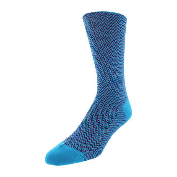 Herringbone Patterned Men's Dress Socks - Turquoise