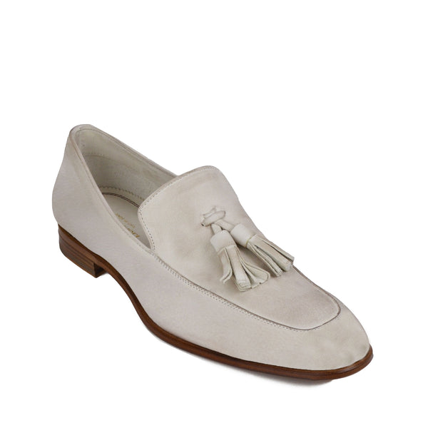 Iko Leather Tassel Loafer - Off White Leather