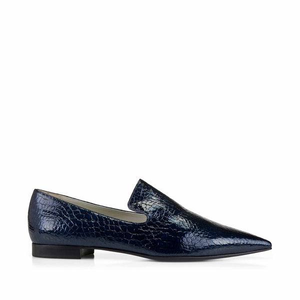 Flavia Croc-Print Slip-On Loafer  - Blue Croc-print Leather - Online Exclusive