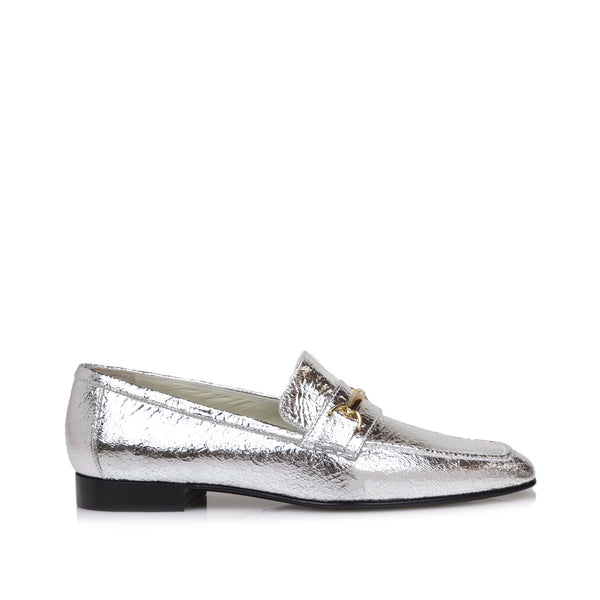 Marco Leather Bit Loafer - Silver Crackle