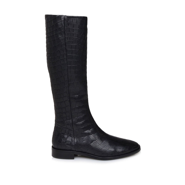 Camilla Croc-Print Leather Flat Boots - Black Croc-Print Leather