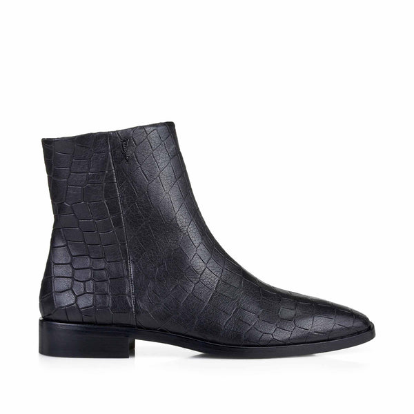 Carlotta Croc-Print Leather Flat Ankle Boots - Black Croc-Print Leather
