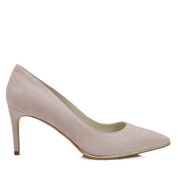 Galena Suede Pump with Metallic Profile, 2.5-Inch - Cream