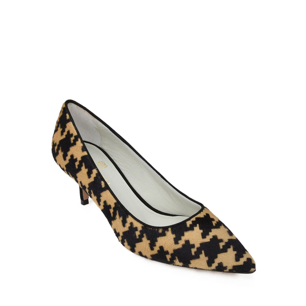 Perla Pony Calf-Hair Pump, 2-Inch - Camel/Black Calf Hair
