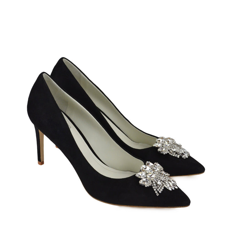 Galaxy Pump with Toe Ornament - Black Suede