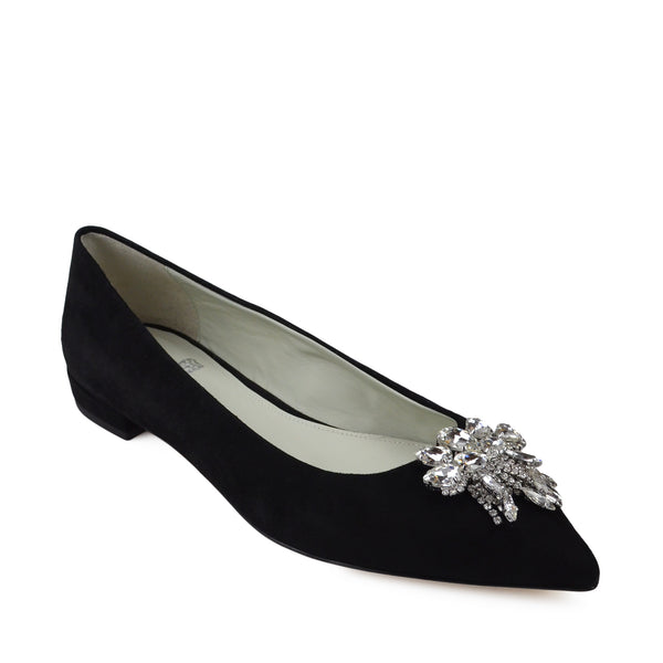 Adele Flat with Toe Ornament - Black Suede