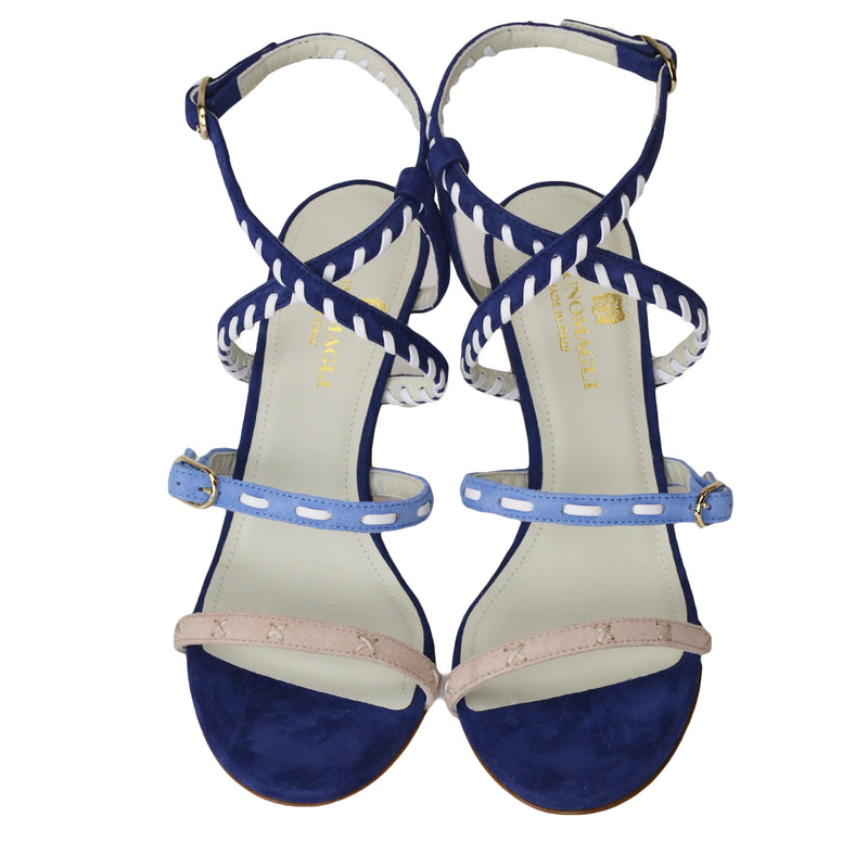 Marika Suede Strappy Sandal - Blue Combo