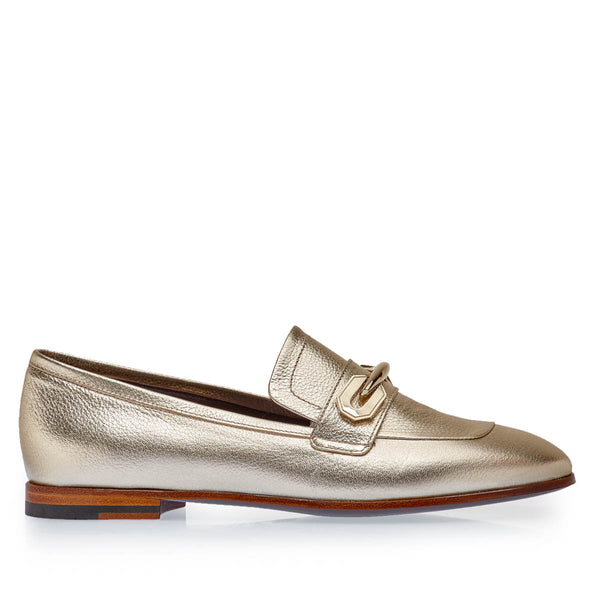 Melania Metallic Leather Loafer - Platinum Metallic Leather