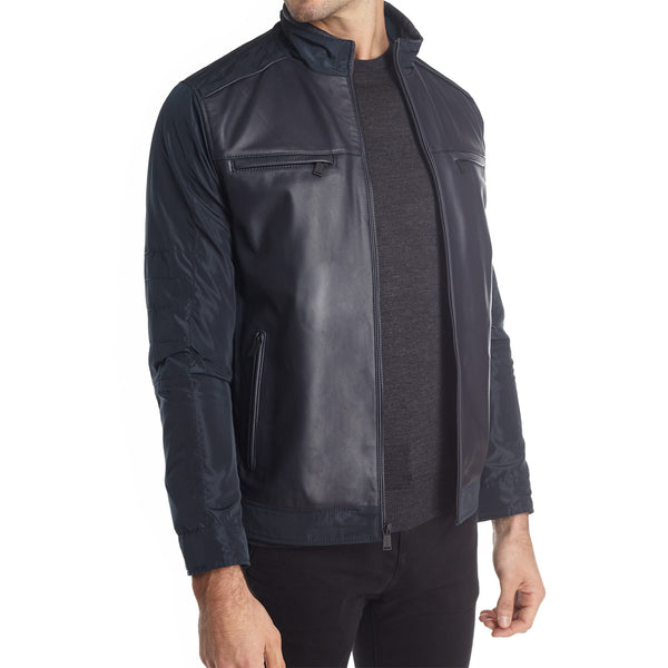 Taormina Men's Mixed Media Moto Jacket - Navy - FINAL SALE