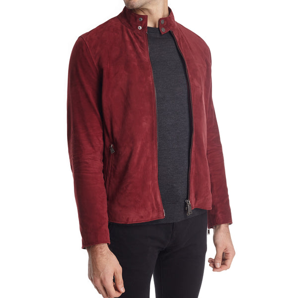 Siene Men's Suede Moto Jacket - Burgundy - FINAL SALE