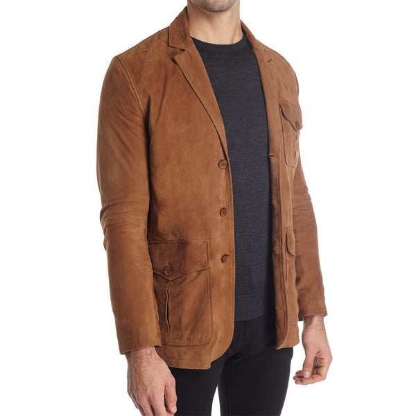 Messina Men's Suede Safari Blazer Jacket - Light Brown - FINAL SALE